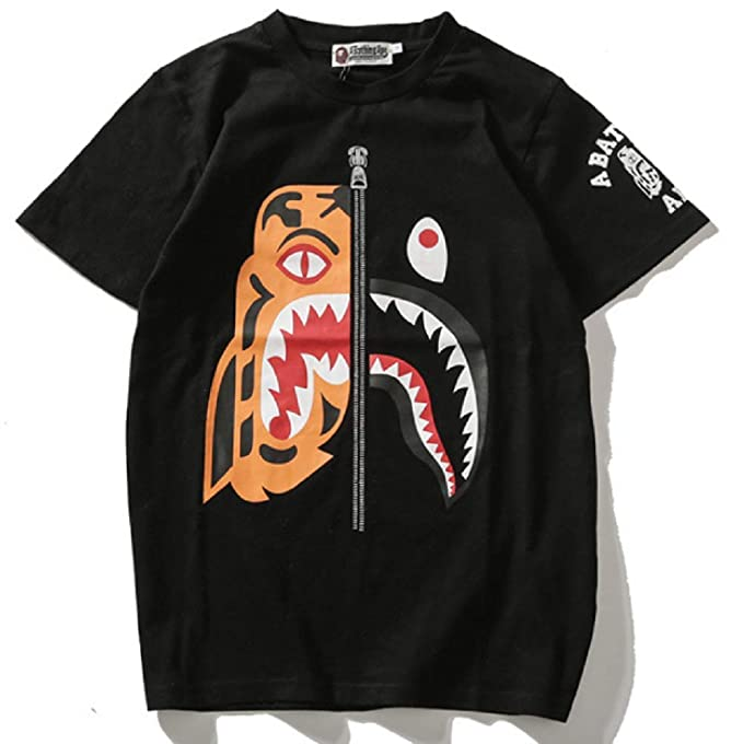 c00a1bdc6 NIMOO Bape Tiger Head Stitching Shark Joint Name T-Shirt Men Short-Sleeved  Couple: Amazon.ca: Clothing & Accessories