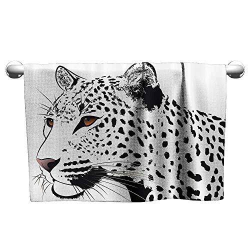 duommhome Tattoo Decor Beach Activity Bath Towel The Head of Magnificent Rare White Tiger with Ocean Blue Eyes Image W12 x L35 White Black and Blue