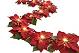 #10: Homeseasons LED Lighted Red Poinsettia Garland with Holly Leaves and Red Berries,6 Feet,Perfect Holiday and Christmas Decoration