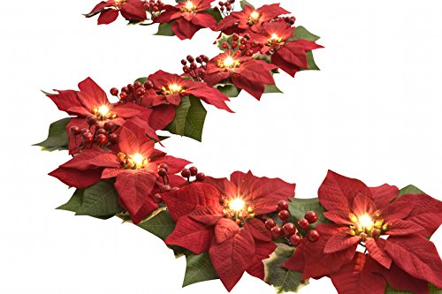 Homeseasons LED Lighted Red Poinsettia Garland with Holly Leaves and Red Berries,6 Feet,Perfect Holiday and Christmas Decoration (Garland Christmas Banister)