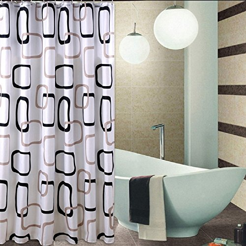 Christmas Fabric Shower Curtain Liner With Hooks Rings Standard 72 X Inches Black Gray And White Geometric Print