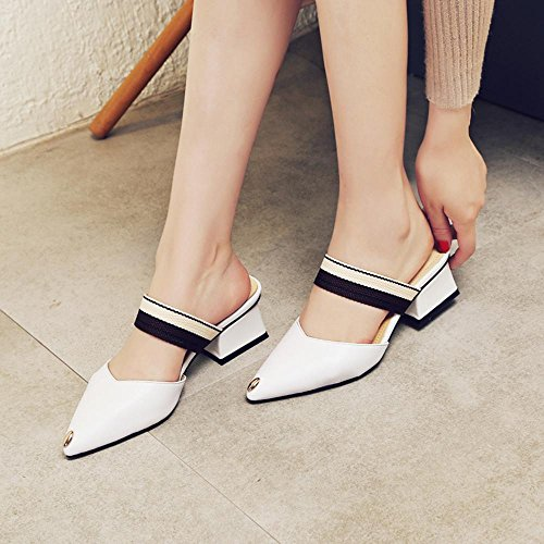 GJDE Zapatos Casuales Sandalias de Verano y Zapatillas Señalaron Colores Mezclados Femeninos Gruesa con Sandalias White