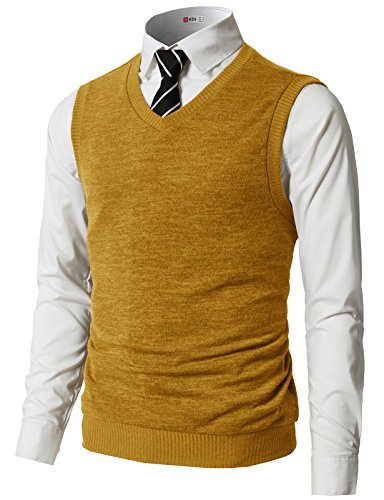 H2H Mens Slim Fit Casual V-Neck Knit Vest Mustard US M/Asia L (CMOV042)
