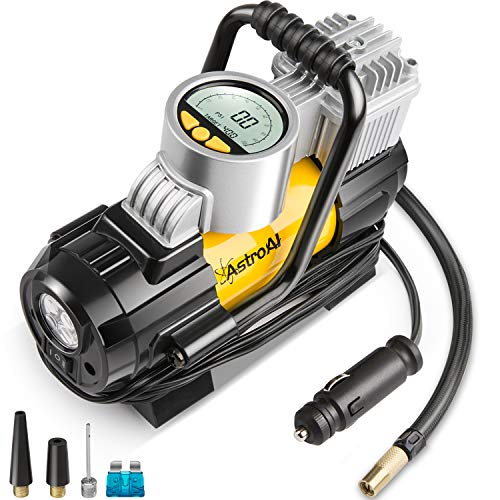 (AstroAI Portable Air Compressor Pump, Digital Tire Inflator 12V DC Electric Gauge with Larger Air Flow 35L/Min, LED Light, Overheat Protection, Extra Nozzle Adaptors and Fuse, Yellow)