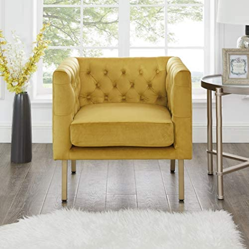 Cui Liu LaVine Tufted Mustard Yellow Velvet Club Chair