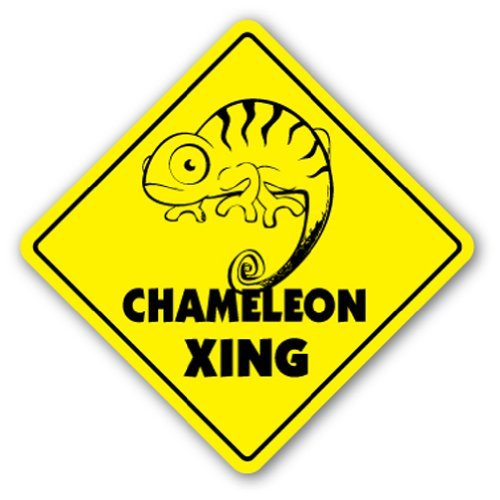 Funny Sign Gift Chameleon Crossing Sign Novelty Lizard Supplies Cage Heat Rock Outdoor Metal Aluminum Sign Wall Plaque Decoration