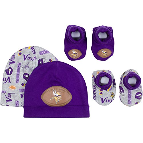 Set Vikings Minnesota Cap - NFL Minnesota Vikings 2 Baby Caps and 2 Booties Set, 0-6 Months, Purple/Gray