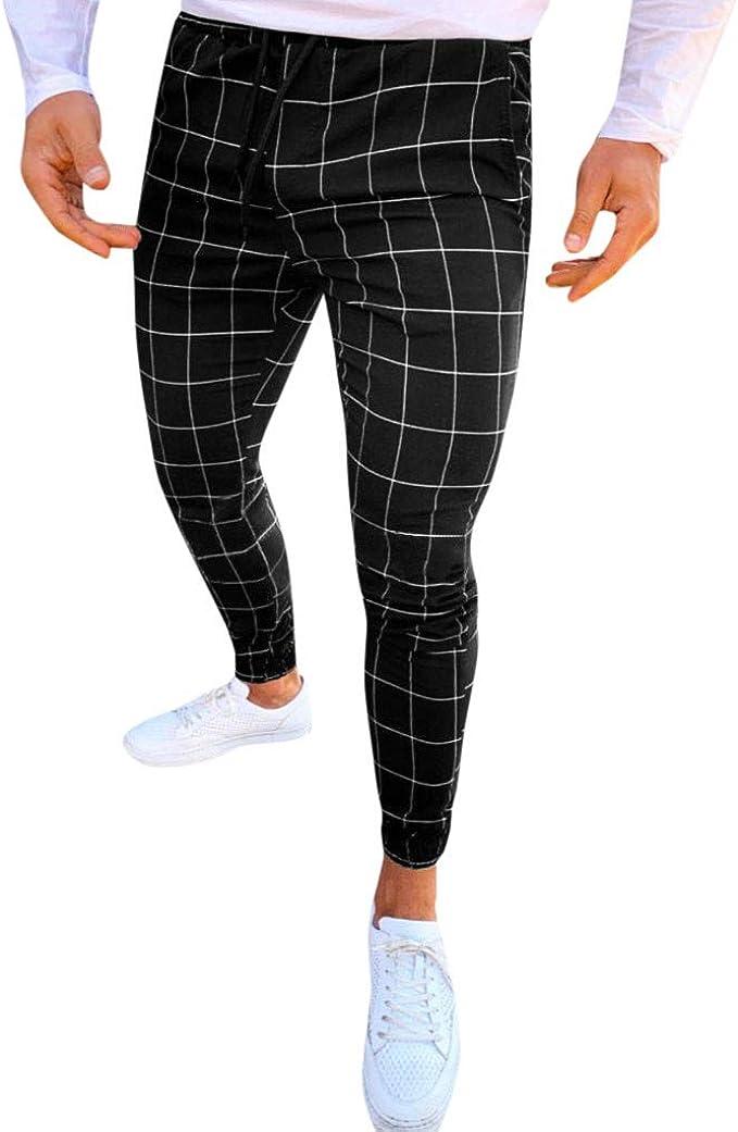 MOSTFA Mens Pants Fashion Men Casual Plaid Print Drawstring Elastic Waist  Long Pants Slim Fit Simple Business Trousers at Amazon Men's Clothing store
