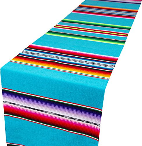 Genuine Mexican Premium Handwoven Bright MexicanTable Runner Saltillo Serape Colorful Striped Sarape 60'' x 12'' (Turquoise) by Threads West (Image #5)'