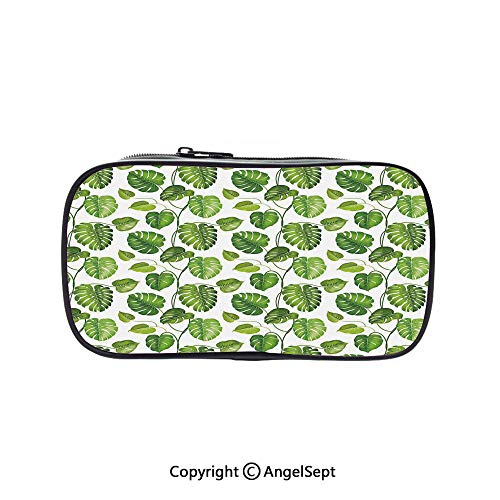 Cute Pencil Case - High Capacity,Tropical Jungle Rainforest Leaves Palm Mango Tree Wild Leaves Art Print Decorative Light Green and White 5.1inches,Multifunction Cosmetic Makeup Bag,Perfect Holder -
