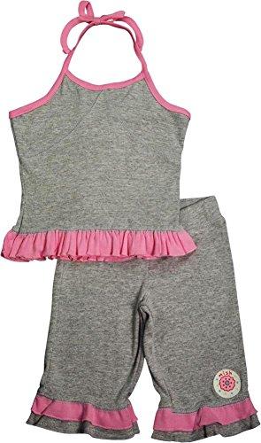 Mish - Little Girls Halter Capri Set, Grey, Pink - Set Capri Halter