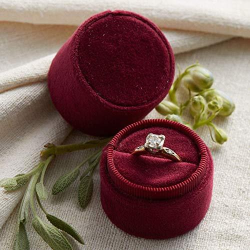 Velvet Ring Box Merlot Dark Red, Round Shape, Engagement Ring Box, Ring Bearer Box, Wedding Ring Box, Wedding Photo Shoot, Engagement Photo Shoot, Bridal Gift