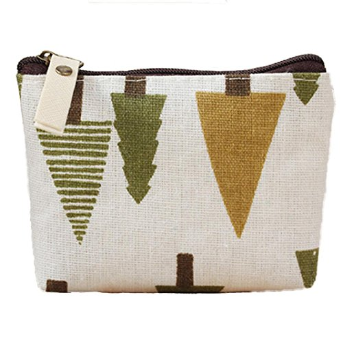 Polytree Printed Canvas Change Coin Purse Holder Zip Mini Wallet Only $1.98