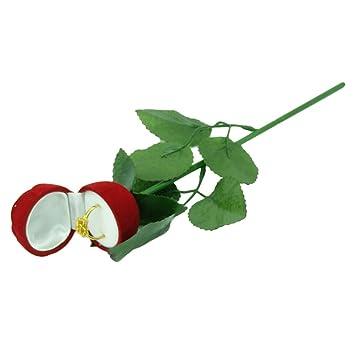 Amazon.com: Rosa caja de anillo, SHZONS rojo rosa joyas caja ...