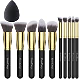 EmaxDesign 10+1 Pieces Makeup Brush Set, 10 Pieces Professional Foundation Blending Blush Eye Face Liquid Powder Cream Cosmetics Brushes & 1 Piece Black Beauty Sponge Blender