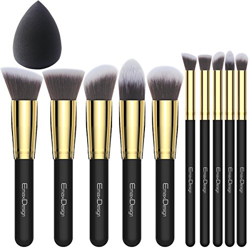 Makeup Brushes Set 10 Pieces plus 1 Piece Black Beauty Spong