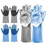 Rubber Gloves 2 Pack Magic Dishwashing Gloves Silicone Reusable Kitchen Gloves Heat Resistant Cleaning Scrub Brush for Pet Bathing,Kitchen,Toilet,Car Or Gift (Gray+Blue)- Lnichot