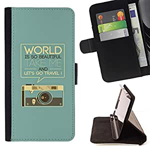 For Samsung Galaxy S4 IV I9500 Retro Graphics Photo Camera World Text Beautiful Print Wallet Leather Case Cover With Credit Card Slots And Stand Function
