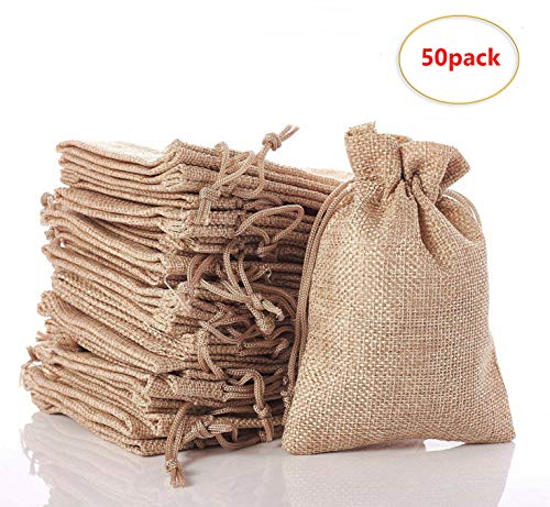 50PCS Small Drawstring Pouch Sacks Jute Ring Jewelry Beads Storage Gift Bags for Wedding Party Favors, DIY Craft, Thanksgiving, ()