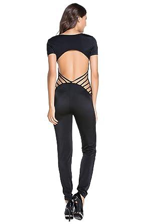 c1d2b1381dd7 New Black Strappy Open Back Catsuit Jumpsuit Evening Party Club Wear Fancy  Dress Catsuit Playsuit Size UK 10-12 EU 38-40  Amazon.co.uk  Clothing