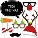 Christmas Holiday Party - Photo Booth Props Kit - 20 Count