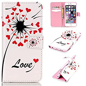 """ANGELLA-M Wallet Case For Apple iphone 6 / 6S (4.7 """") , Unique Love Heart Flower 3D Relief Style Magnetic Wallet Flip Stand Pouch Cover Skin."""