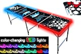 PartyPongTables.com 8-Foot Beer Pong Table w/Cup Holes & LED Glow Lights - Splash Edition