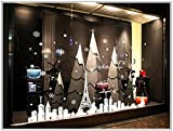 Christmas Shop Window Art Decals Towel City Snow Room Decoration Removable Stickers for Window Wall Furniture White 44 x 66.4 Inch
