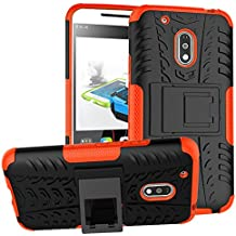 Moto G Play Case, Moto G4 Play Droid Case,Moment Dextrad [Built-in Kickstand] [Dual Layer] [Shock Proof] [Non-slip Design] [Scratch/Dust Proof] (Moto G4 Play Hybrid Full-body case) (Orange)
