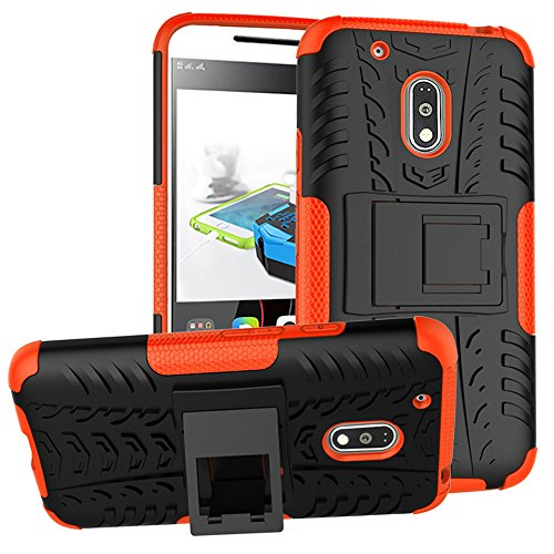 to G4 Play Droid Case,Moment Dextrad [Built-in Kickstand] [Dual Layer] [Shock Proof] [Non-slip Design] [Scratch/Dust Proof] (Moto G4 Play Hybrid Full-body case) (Orange) ()