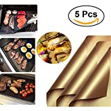 ZDYLM-Y BBQ Grill Mat Set of 5 Reusable Non Stick High Temperature Resistance BBQ Grill Mat - Easy to Clean, Perfect for Charcoal, Electric and Gas Grill - Dishwasher Safe