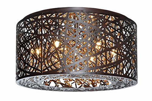 ET2 Lighting E21300-10BZ Flush Mount with Clear and White Glass Shades, Bronze For Sale