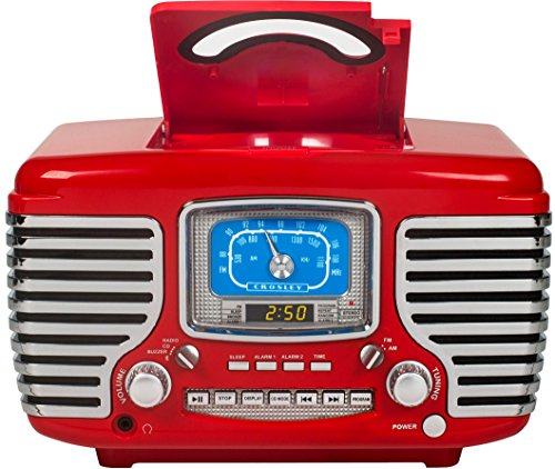 Crosley CR612D-RE Corsair Retro AM/FM Dual Alarm Clock Radio with CD Player and Bluetooth, Red by Crosley (Image #3)