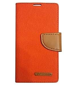 Aart Fancy Wallet Dairy Jeans Flip Case Cover for NokiaN540 (Orange) By Aart Store