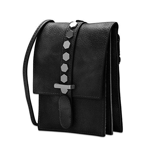 Faysting EU pelle retangolo forma nero borsa a tracolla borsa a spalla buon regalo san valentino