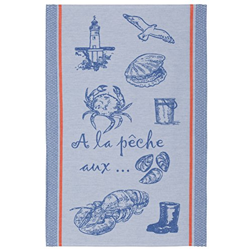 COUCKE French Cotton Jacquard Towel French Table Collection, A La Peche (Seafood) FB, 20-Inches by 30-Inches, - French Towel Tea