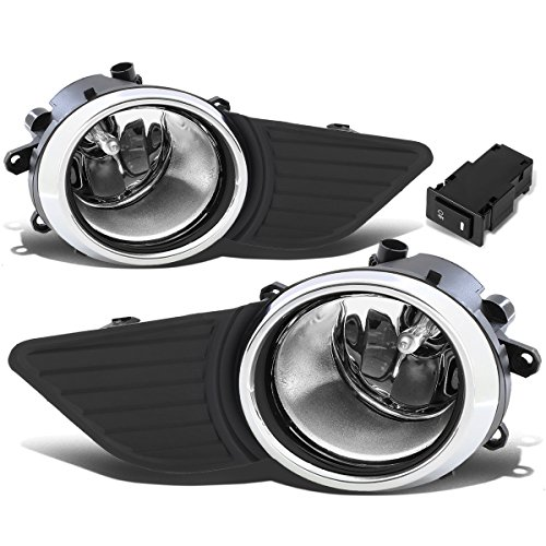 (For Sienna Driving Bumper Fog Light + Bezel Covers + Wiring + Switch (Chrome Ring Clear Lens))