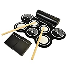 Pyle Electric Roll up Drum Kit-Midi Computer Connection Compact Design, Quick Setup 9 Drum Pads and Foot Pedals (PTEDRL14)