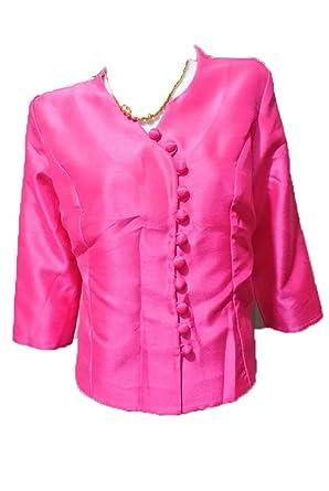 Pink Lao Laos Silk 3 4 Sl Blouse Top Button Down Shirt Sz 42 Xl B42d