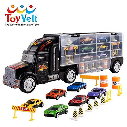 Toy Truck Transport Car Carrier Toy for Boys and Girls age 3 - 10 yrs old - Hauler Truck Includes 6 Toy Cars and Accessories - Car Truck Fits 28 Car Slots - Ideal Gift For Kids (Toy Transporter Car)