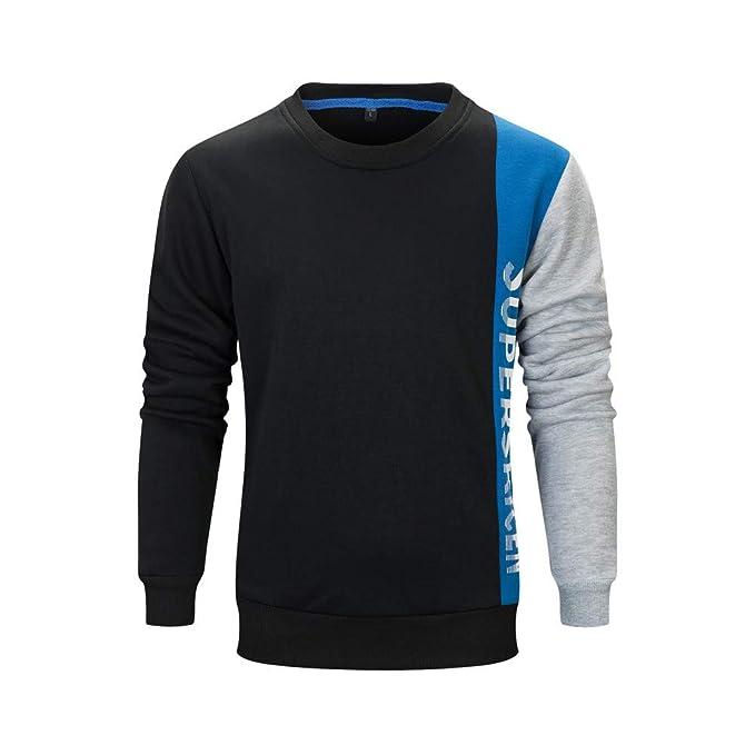 f2755d7e2d5d OSYARD Pullover Streetwear Herren, Männer Herbst Winter Brief Brucken Bluse  Elegant Baumwolle T-Shirt