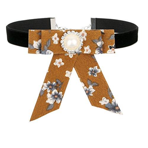 ROWAG Floral Black Ribbon Choker Necklace for Women Girls Handmade Adjustable Flower Bow Tie Shirt Collar