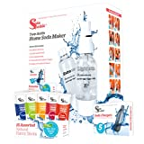 SodaSparkle Compact and Safe DIY Carbonated Soft Drink Maker Deluxe Starter Kit with 2 Eco-Friendly Bottles