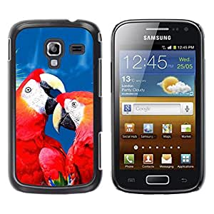 Caucho caso de Shell duro de la cubierta de accesorios de protección BY RAYDREAMMM - Samsung Galaxy Ace 2 I8160 Ace II X S7560M - Love Parrot Red Blue Beautiful Bird Nature