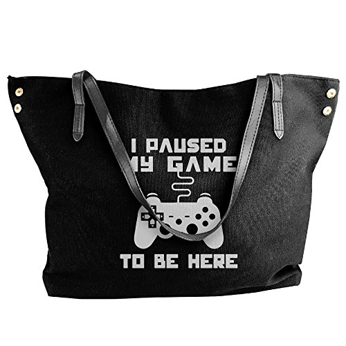 I Shoulder Game Women's Be Canvas Paused Black Here To Bags My Tote Large Messenger Handbag tqwZwX8