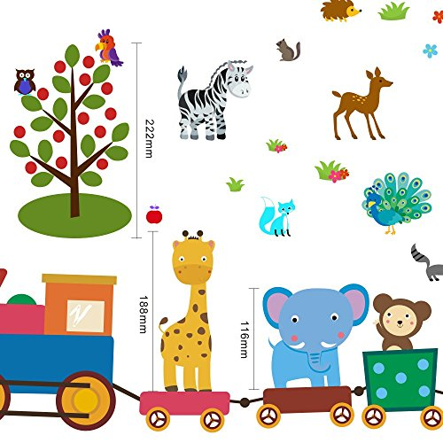 Animal Wall Decals for Boys and Girls, Decorative Jungle Wall Stickers for Bedrooms, Bathroom, Baby Nursery, Etc., Removable Vinyl Peel and Stick Wild Animals Home Decor, Kids Wall Art Mural, 104 Pcs. (Shower Wagon Baby)