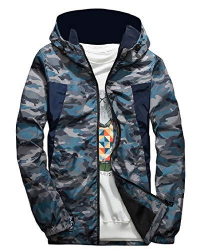 EnergyMen Plus-Size Camouflage Hooded Zipper Windbreaker Outwear Jacket Blue