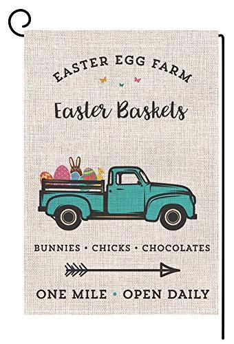 BLKWHT Easter Egg Farm Truck Small Garden Flag Vertical Double Sided 12 x 18 Inch Easter Farmhouse Yard Decor
