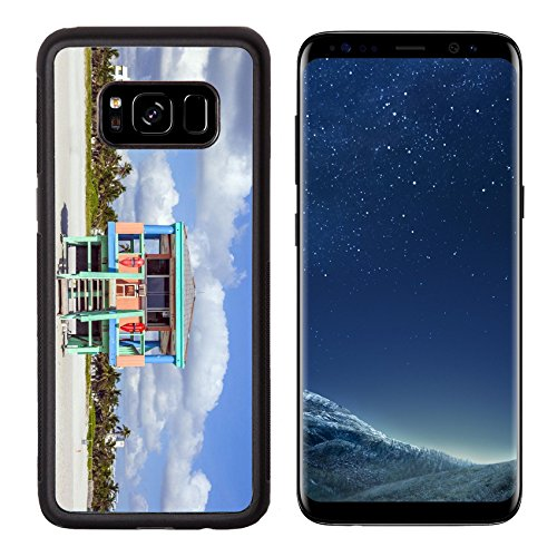 MSD Premium Samsung Galaxy S8 Aluminum Backplate Bumper Snap Case wooden colorful beach watch hut at the beautiful white beach IMAGE - Hut Usa Watch