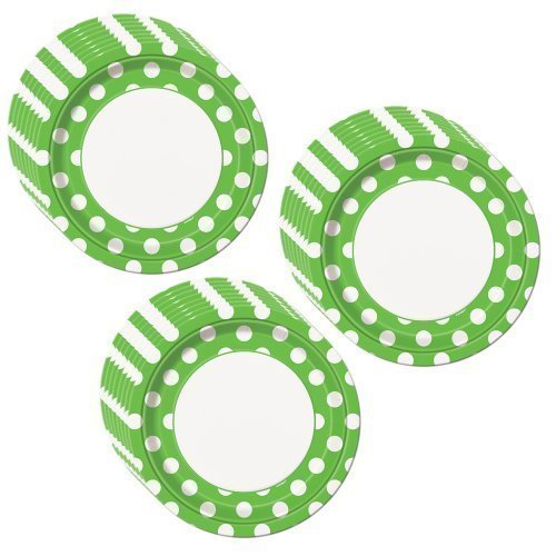 Lime Green Polka Dot Party Dinner Plates - 24 Guests]()